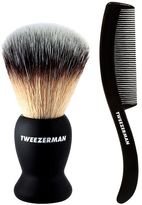 Tweezerman Deluxe Shaving Brush with free moustache/beard comb