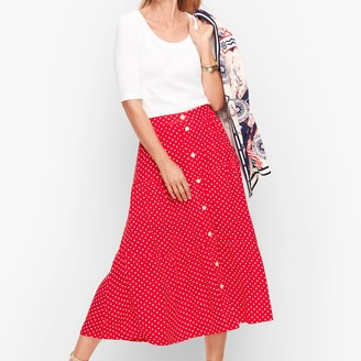Talbots Tiered Button Front Skirt - Dot