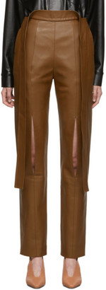 MATÉRIEL Brown Vegan Leather Trousers