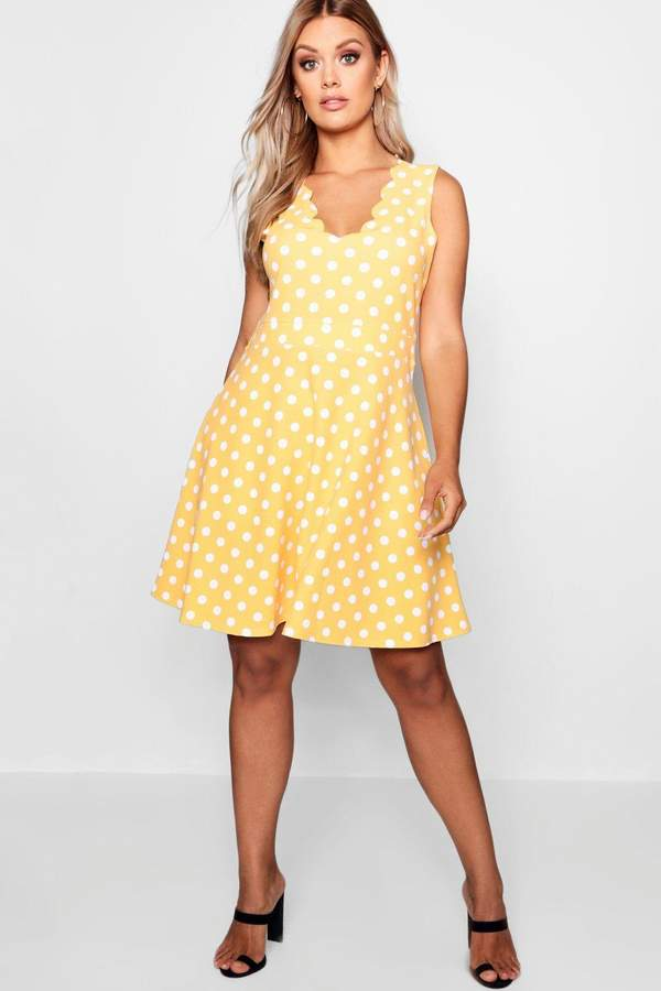 15f83ebef64 Yellow Scallop Dress - ShopStyle