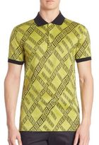 Versace Abstract Printed Cotton Polo