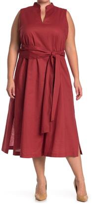Anne Klein Linen Midi Dress With Attached Sash