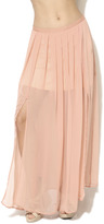 Arden B Double Slit Chiffon Maxi Skirt