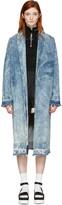 MSGM Blue Marbled Denim Coat