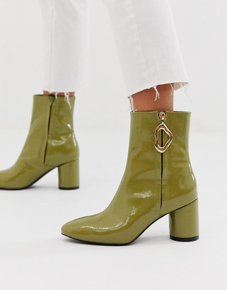 Asos Design DESIGN Charlotte feature zip smart boots in green patent