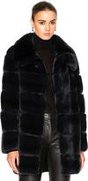 Yves Salomon Long Rex Rabbit Fur Coat
