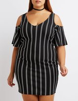 Charlotte Russe Plus Size Striped Cold Shoulder Dress