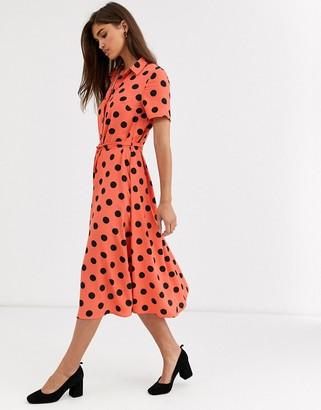 Vila spotty midi shirt dress