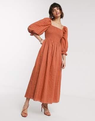 Asos Design DESIGN shirred maxi dress in textured cotton in rust-Orange