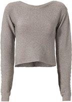Thierry Mugler Open Back Metallic Cropped Sweater