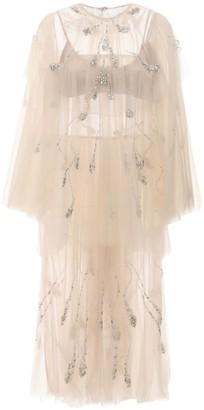Sandra Mansour Crystal Embellished Tulle Midi Dress