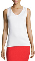 St. John Milano Knit V-Neck Shell, White