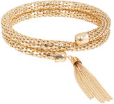Yours Clothing Gold Snake Chain Coil Bracelet With Tassel