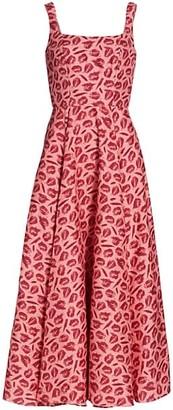 Brandon Maxwell Lip-Print Silk A-Line Maxi Dress