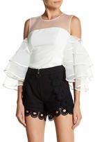 Gracia Cold Shoulder Ruffle Sleeve Blouse