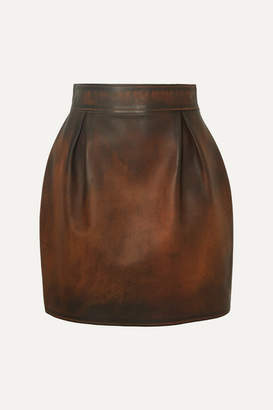Versace Pleated Antiqued-leather Mini Skirt - Brown