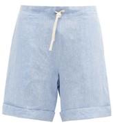 Thumbnail for your product : MARANÉ Drawstring-waist Linen-chambray Shorts - Light Blue