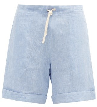 Marané Marane - Drawstring-waist Linen-chambray Shorts - Light Blue