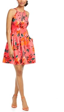 Vince Camuto Floral Scuba Fit & Flare Dress