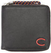 Carven Black Zip Smooth Leather Wallet with Red Logo