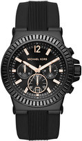 MICHAEL Michael Kors Large Stainless Steel Chronograph Watch w/ Silicone Strap, Black