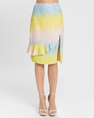 Express Endless Rose High Waisted Colorblock Sequin Skirt