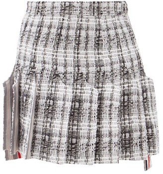 Thom Browne Pleated Tweed Mini Skirt - Grey