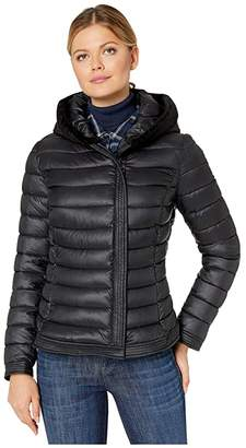 Bernardo Fashions EcoPlume Lust Jacket with Faux Fur Trim (Black) Women's Jacket
