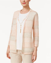 Alfred Dunner Just Peachy Striped Layered-Look Sweater