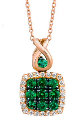 LeVian Le Vian 14K Rose Gold 0.55 Ct. Tw. Diamond & Costa Smeralda Emeralds Pendant Necklace