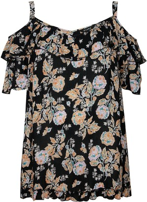 Evans Floral Print Cold Shoulder Top - Black