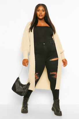 boohoo Plus Balloon Sleeve Oversized Cardigan