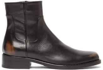 Raf Simons Distressed Square Toe Leather Boots - Mens - Black