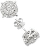 Macy's Diamond Cluster Stud Earrings (1 ct. t.w.) in 14k White Gold