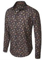 fhnlove Franco Benicci Men's Spread Collar Patterned Print Long Sleeve Dress Shirt B81 L