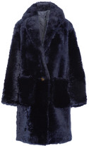 Helmut Lang Oversized Shearling Coat - Navy