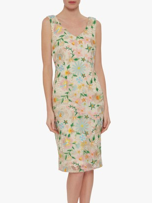 Gina Bacconi Lucile Embroidered Shift Dress, Pink/Beige
