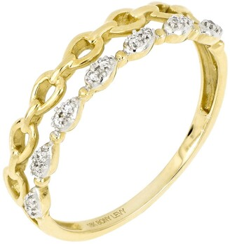 Bony Levy 18K Yellow Gold Diamond Pear Shape Link Double Row Ring - 0.04 ctw