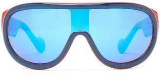 Moncler Flat-top Mirrored-lens Ski Sunglasses - Womens - Red Multi