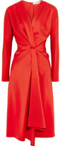 Victoria Beckham Wrap-effect Satin-crepe Midi Dress - Red