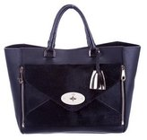 Mulberry Ponyhair-Accented Willow Tote