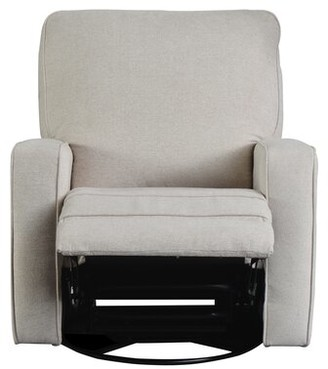 Red Barrel Studio Bertenshaw Manual Swivel Recliner Fabric: Beige Velvet