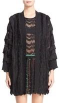 Missoni Fringe Trim Metallic Knit Cardigan
