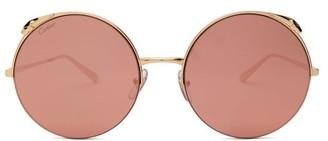 Cartier Eyewear - Panthere Round Metal Sunglasses - Womens - Pink Gold