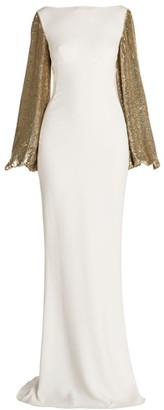 Stella McCartney Sequin-Sleeve Column Gown