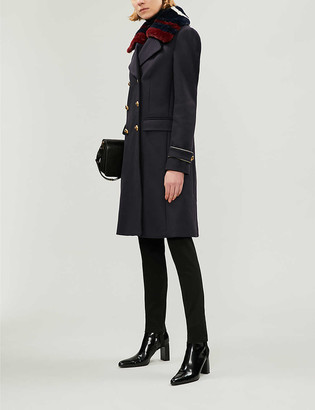 Pinko Quadro double-breasted faux-fur and wool-blend coat