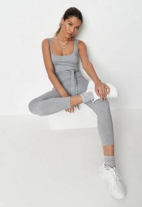 Missguided Marl Scoop Neck Unitard Playsuit