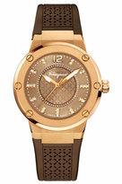 Salvatore Ferragamo 33mm F-80 Watch w/ Diamonds & Rubber Strap, Brown
