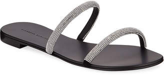 Giuseppe Zanotti Crystal-Strap Leather Slide Sandals