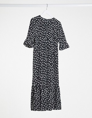 Miss Selfridge smock midi dress in monochrome floral